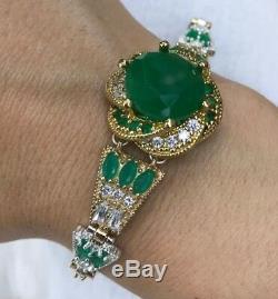 Argent 925 Main Authentique Bracelet Manchette Émeraude Turc