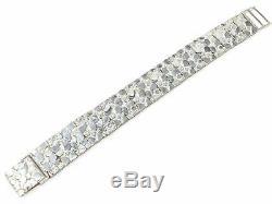 Argent 925 Massif Nugget Bracelet Réglable 8,25 21mm 51,5 Grammes