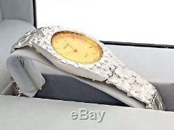 Argent 925 Nugget Bande Montre-bracelet Avec Geneve Diamond Watch 7 42grams