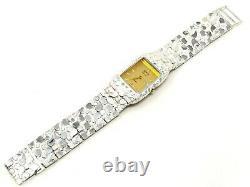 Argent 925 Nugget Montre-bracelet Droite Band Geneve Diamond Watch 7-7,5