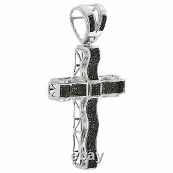 Argent Black Diamond Mens Sterling Déclaration Pendentif Croix 3,15 Charm 1,39 Ct