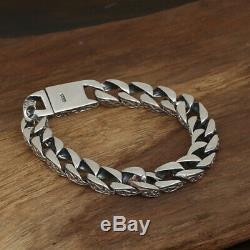Argent Massif 925 Sterling Bracelet Heavy Hommes Lien Chaîne Bijoux Boucle Stripe