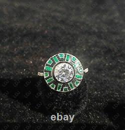 Bague De Fiançailles 925 Sterling Silver 1.8 Ct Round Vintage Art Déco Enamel