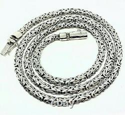 Bali Handmade Solid Sterling Silver Byzantine Chain Collier 4mm 18 -20- 24