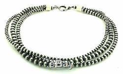 Belle Perles Navajo En Argent Sterling 3 Brins Collier De Perles 18