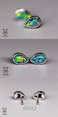 Boucles D'oreilles Minimalistes En Forme De Poire Australienne Triplet Opal 925 Sterling Silver