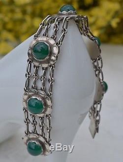 Bracelet Avec Des Agates Vertes Vintage Georg Jensen # 31 Argent Sterling Longueur 7,1