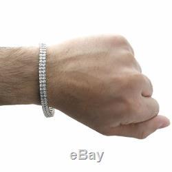 Bracelet Blanc Diamant Hommes 2 Ligne Tennis Lien Design En Argent Sterling 0,38 Ct