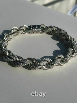 Bracelet Corde 10mm Hommes Solid Argent 925 20ct Super Diamonds Icy