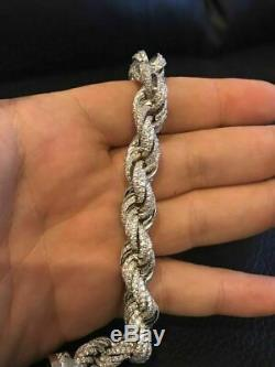 Bracelet Corde 12mm Hommes Solid Argent 925 25ct Super Diamonds Icy