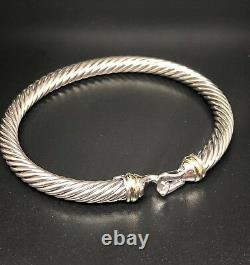 Bracelet De Boucle De Câble De David Yurman Avec 18k Or 5mm 925 Sterling Argent Petit