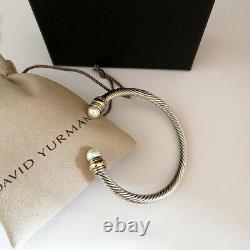 Bracelet De Câble David Yourman 5mm Sterling Sterling Cuffs Banglier 14k Or Avec Perle