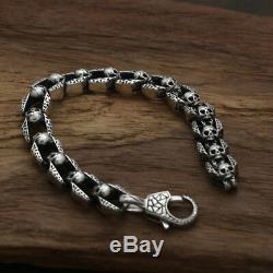 Bracelet En Argent Réel 925 Sterling Lien Chaîne Crâne Lourd Longueur Hommes 7.9