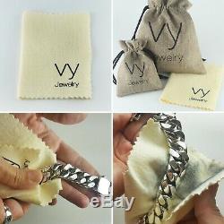 Bracelet Homme Argent 925 Massif Lourd Classique Taille 7,5 8,5 10,5 Lien 11