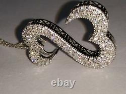 Cœurs Ouverts De Jane Seymour 1.10 Ct Diamant En Sterling Silver Pendentif Collier