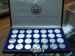 Canada 1976 En Argent Sterling Set Monnaies Olympiques 28pcs Avec Brown Box