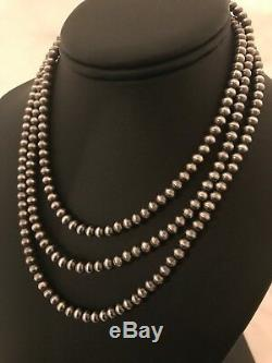 Collier De Perles De Navajo Perles En Argent Sterling 48 1033