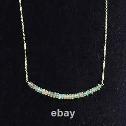 Collier Éthiopien Opal Bar 925 Sterling Silver Handmade Natural Peraded Women