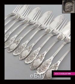 Compere Antique 1890s Set De Plate-forme A Poissons En Argent Sterling 12 Pièces