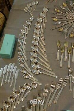 Complet 192 Piece Tiffany Hampton Sterling Couverts Argenterie Pour 12