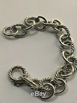 David Yurman Argent 925 Grand 12mm Bracelet Chaîne À Maillons Ovales