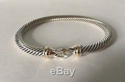 David Yurman Câble Bracelet Boucle Avec 5 MM En Or 18 Carats Argent 925 (s)