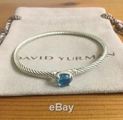 David Yurman Châtelaine Bracelet Avec Topaze Bleu Argent 925 3mm