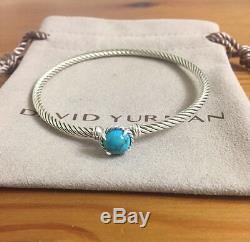 David Yurman Châtelaine Bracelet Avec Turquoise Argent 925 3mm