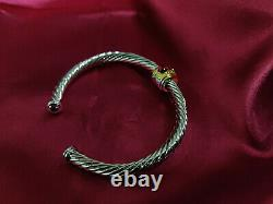 David Yurman Classic Style Sterling Silver 18k Or Rouge Agate 5mm Cable Bracelet