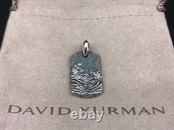 David Yurman Men's Waves Sterling Silver Dog Tag (26mmx15mm) 450 $ Nwot