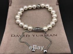 David Yurman Spirituelle Bracelet Perle En Argent Sterling Avec Des Perles D'eau Douce Nwot