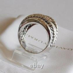 David Yurman Wide Crossover Sterling Silver Cable Band Ring Taille 7 Avec Pouch
