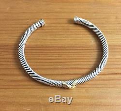David Yurman X Bracelet 4 MM Avec La Taille D'or Moyen Argent 925 Et 18k