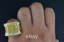 Diamant Jaune Mens Pinky Anneau Pave. Argent 925 0,53 Ct