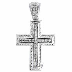 Diamant Pendentif Croix Des Hommes. 925 Charm Religieuse En Argent Sterling Pave 2.10 Tcw
