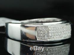 Diamant Wedding Band. 925 Hommes Pave Sterling Bague De Fiançailles 0,35 Ct