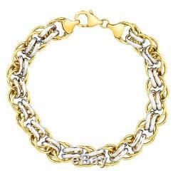 Double-link Bracelet En Or 14k-bonded En Argent Sterling