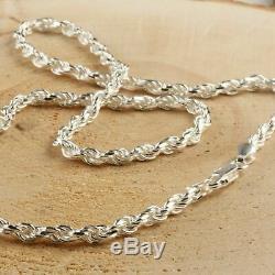 En Argent Massif Italien Diamond Cut Corde Chaîne Collier 925 Hommes 4 MM 24'