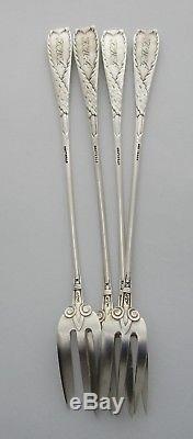 Ensemble De (4) Fourchettes À Quatre Huîtres Astiques En Argent Sterling Gorham C 1885