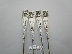 Ensemble De Quatre (4) Argent Rare Esthétique Sterling Gorham Bat Oyster Forks C 1885