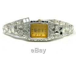 Femmes Argent 925 Nugget Lien Geneve Diamant Montre-bracelet 6,5-7 24,7 G