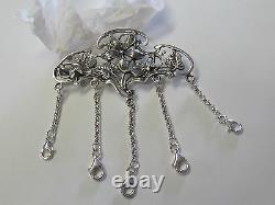 Floral Art Nouveau Sterling Silver Chatelaine Pin New