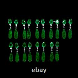 Forest Green Doublet Emerald & White Cz Boucles D'oreilles 925 Silver Sterling