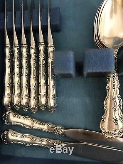 Gorham Strasbourg En Argent Sterling Service Pour 8 Flatware Service Spoon & Sugar