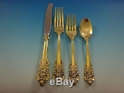 Grande Baroque Par Wallace Service De Couverts En Argent Sterling 8 Set Gold Vermeil