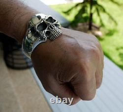 Heavy Phantom Skull 925 Sterling Sterling Sterling Homme Bracelet Bracelet Rider Biker Harley
