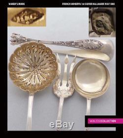 Henin Antique 1890s En Argent Sterling & Vermeil Dessert / Hors D'ouvre