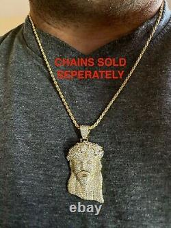 Hip Hop 14k Gold Over 925 Sterling Silver Jesus Piece Flooded Out Pendant Iced