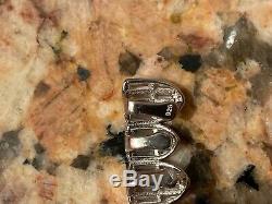 Hip Hop Solid Argent 925 Grillz Diamant Baguette Iced Grills Set