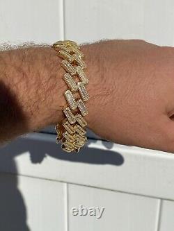 Homme 18mm Baguette Prong Cuban Bracelet Gold Plated Solid 925 Sterling Silver